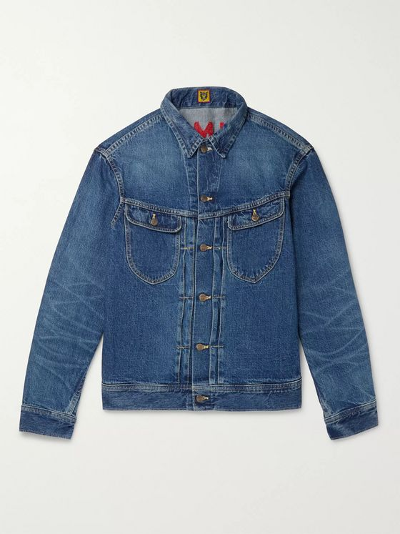 Human Made Logo-Embroidered Denim Jacket