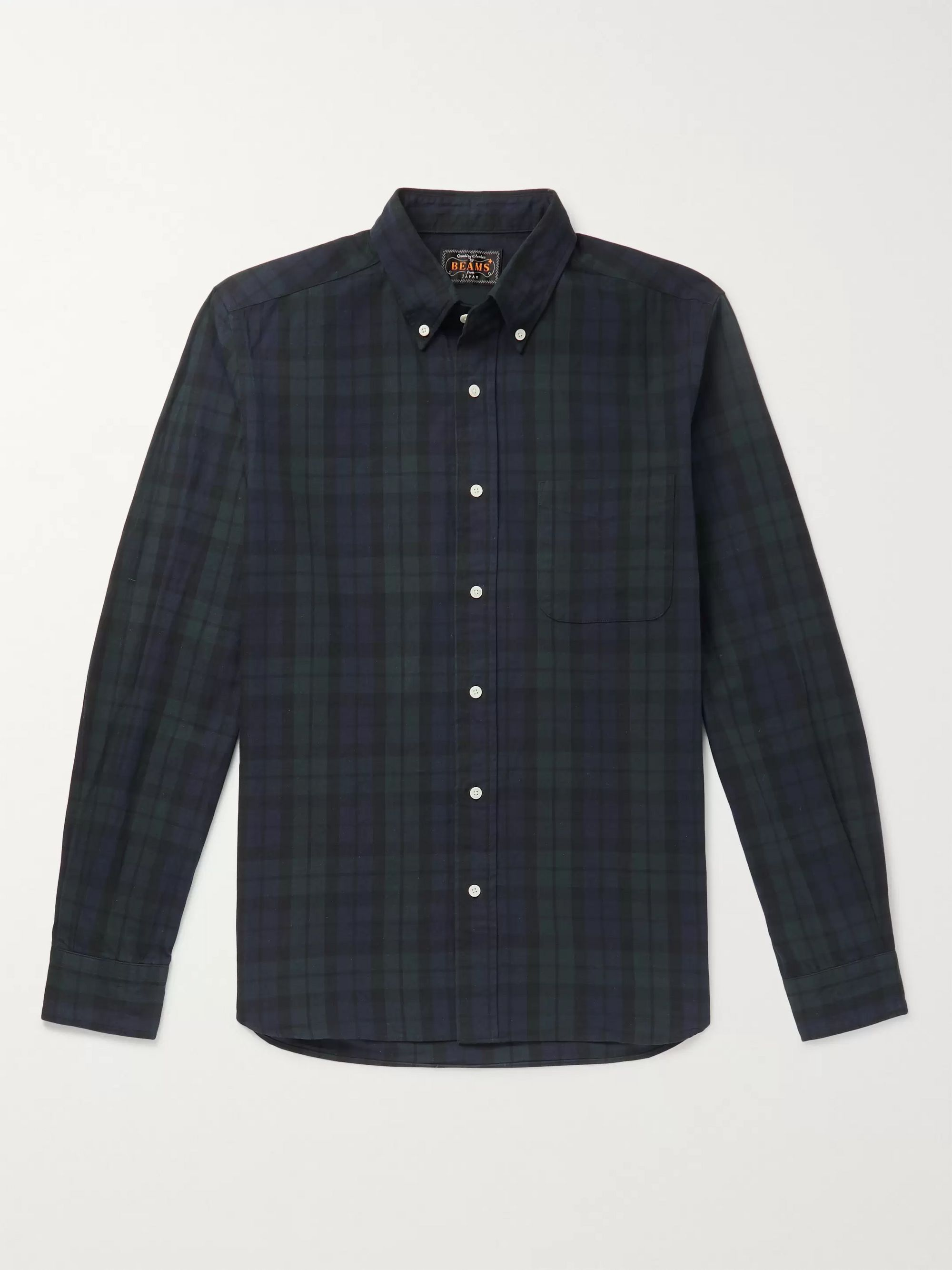 Button Down Collar Checked Cotton And Linen Blend Flannel Shirt by Beams Plus