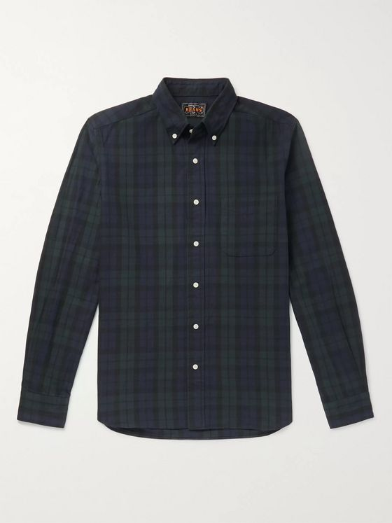 Beams Plus Button-Down Collar Checked Cotton and Linen-Blend Flannel Shirt