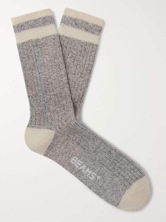 Beams Plus Ragg Two-Pack Striped Mélange Cotton Socks