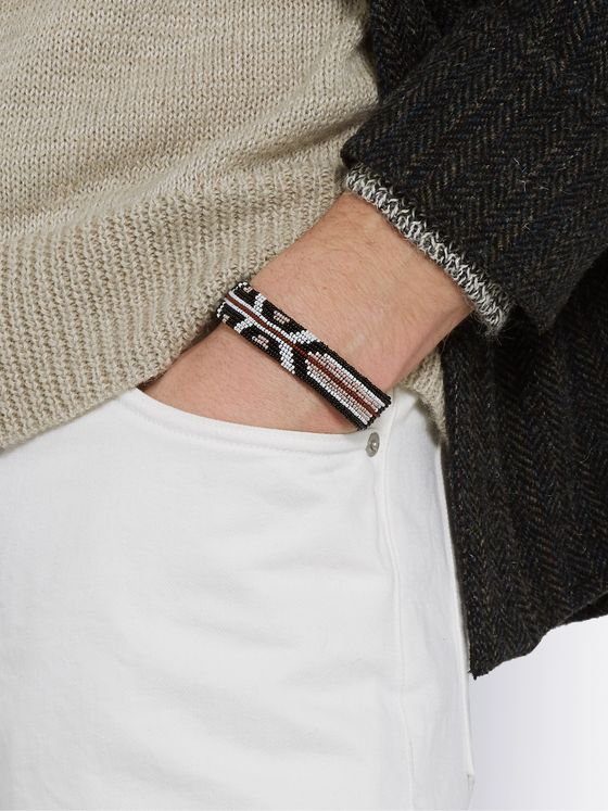 Isabel Marant Leather, Silver-Tone and Beaded Bracelet