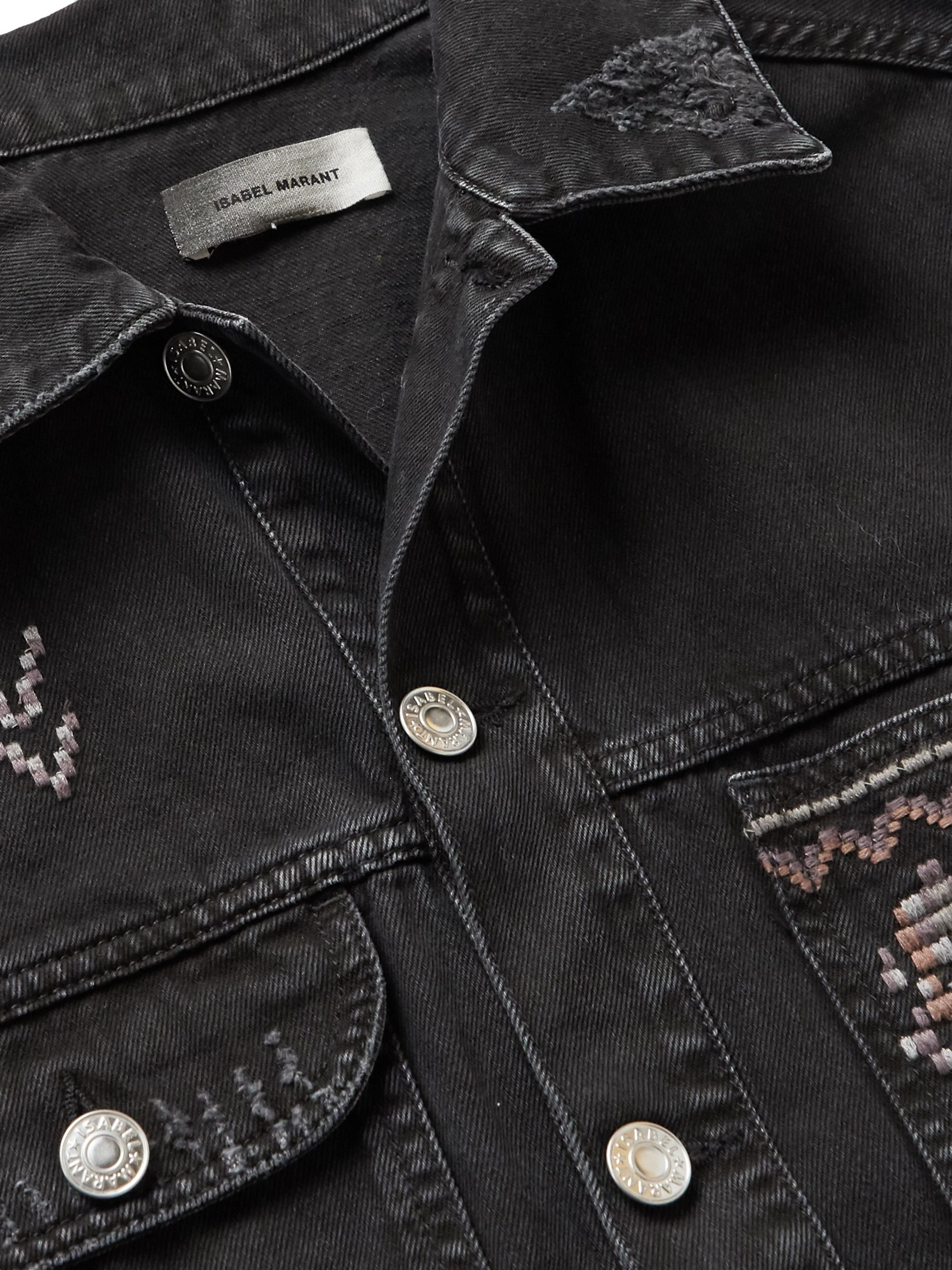 Isabel Marant Embroidered Distressed Denim Jacket