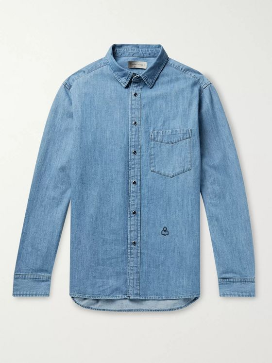 Isabel Marant Lako Logo-Embroidered Denim Shirt