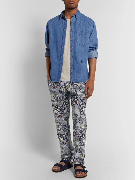Isabel Marant Petros Slim-Fit Printed Cotton Drawstring Trousers