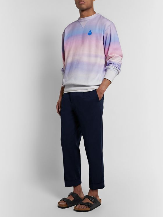 Isabel Marant Miley Logo-Flocked Tie-Dyed Cotton-Blend Jersey Sweatshirt