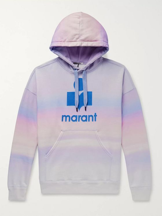 Isabel Marant Miley Logo-Flocked Tie-Dyed Cotton-Blend Jersey Hoodie