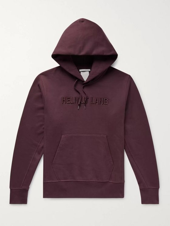 Helmut Lang Logo-Embroidered Fleece-Back Cotton-Jersey Hoodie