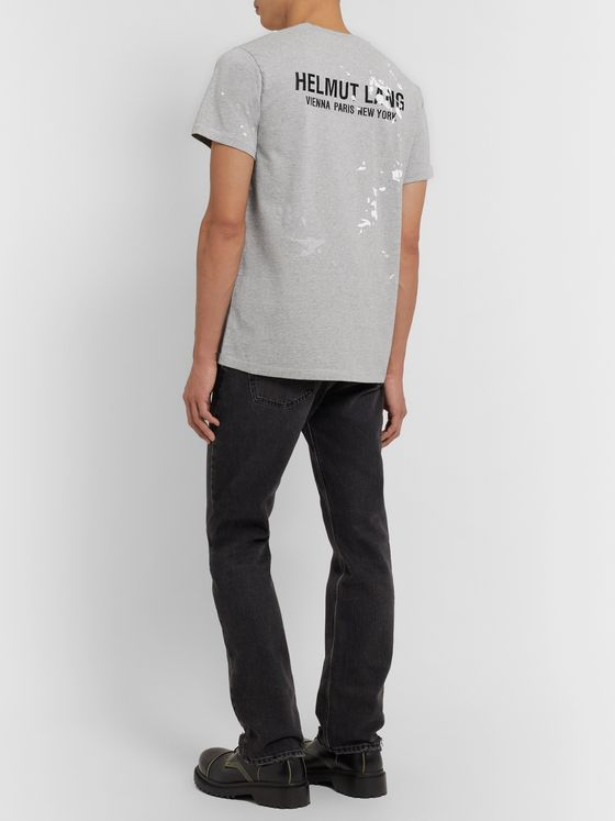 Helmut Lang Printed Logo-Embroidered Cotton-Jersey T-Shirt