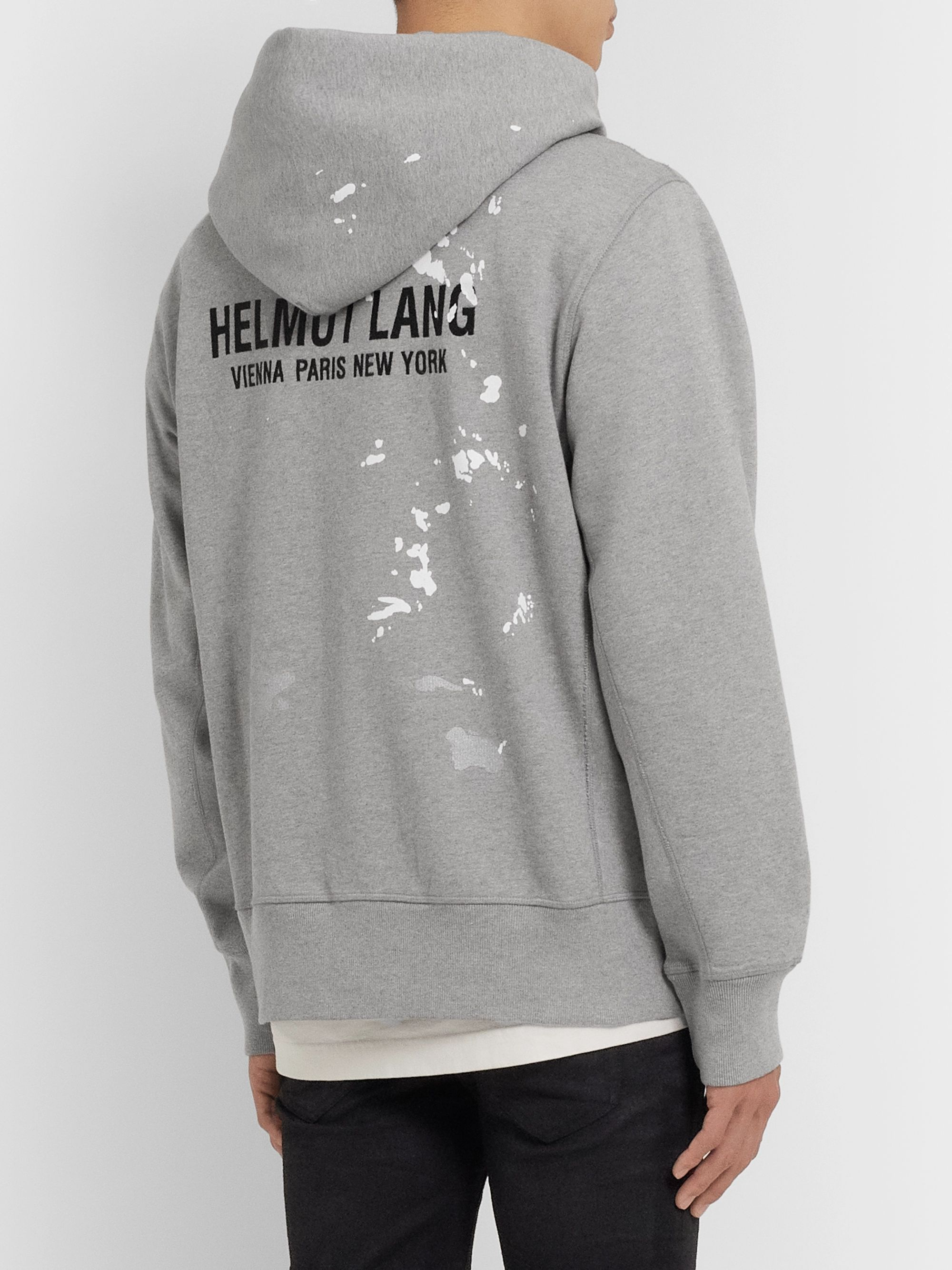 Helmut Lang Printed Logo-Embroidered Fleece-Back Mélange Cotton-Jersey Hoodie