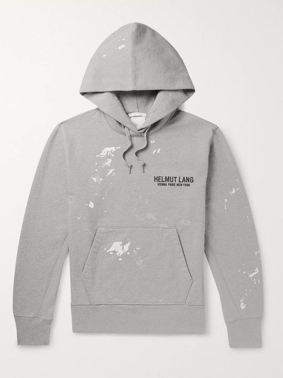 Helmut Lang Printed Logo-Embroidered Fleece-Back Cotton-Jersey Hoodie