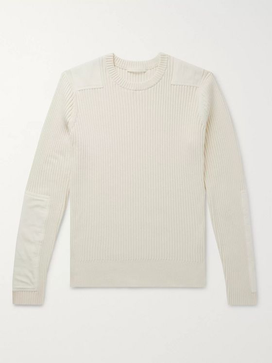 Helmut Lang Velvet-Panelled Ribbed Cotton and Cashmere-Blend Sweater