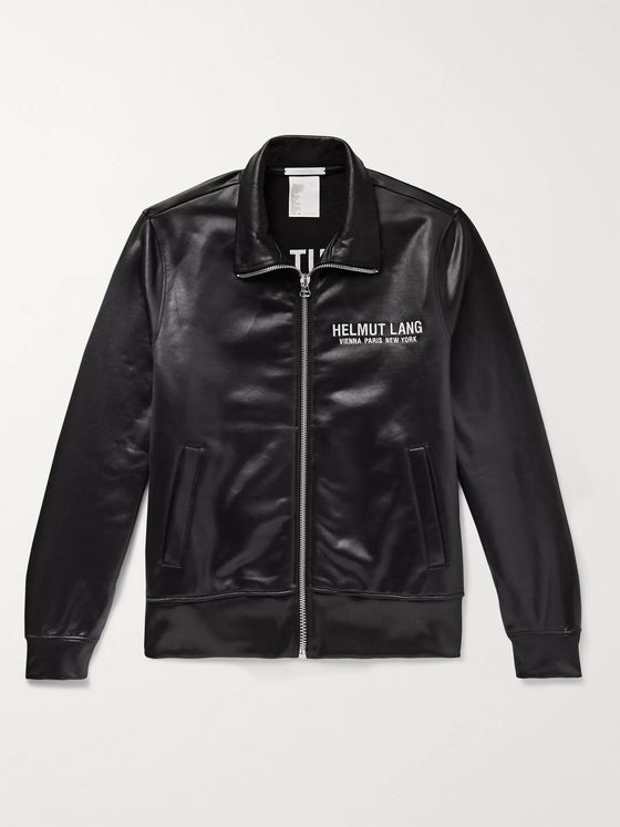 Helmut Lang Logo-Embroidered Coated Loopback Jersey Track Jacket