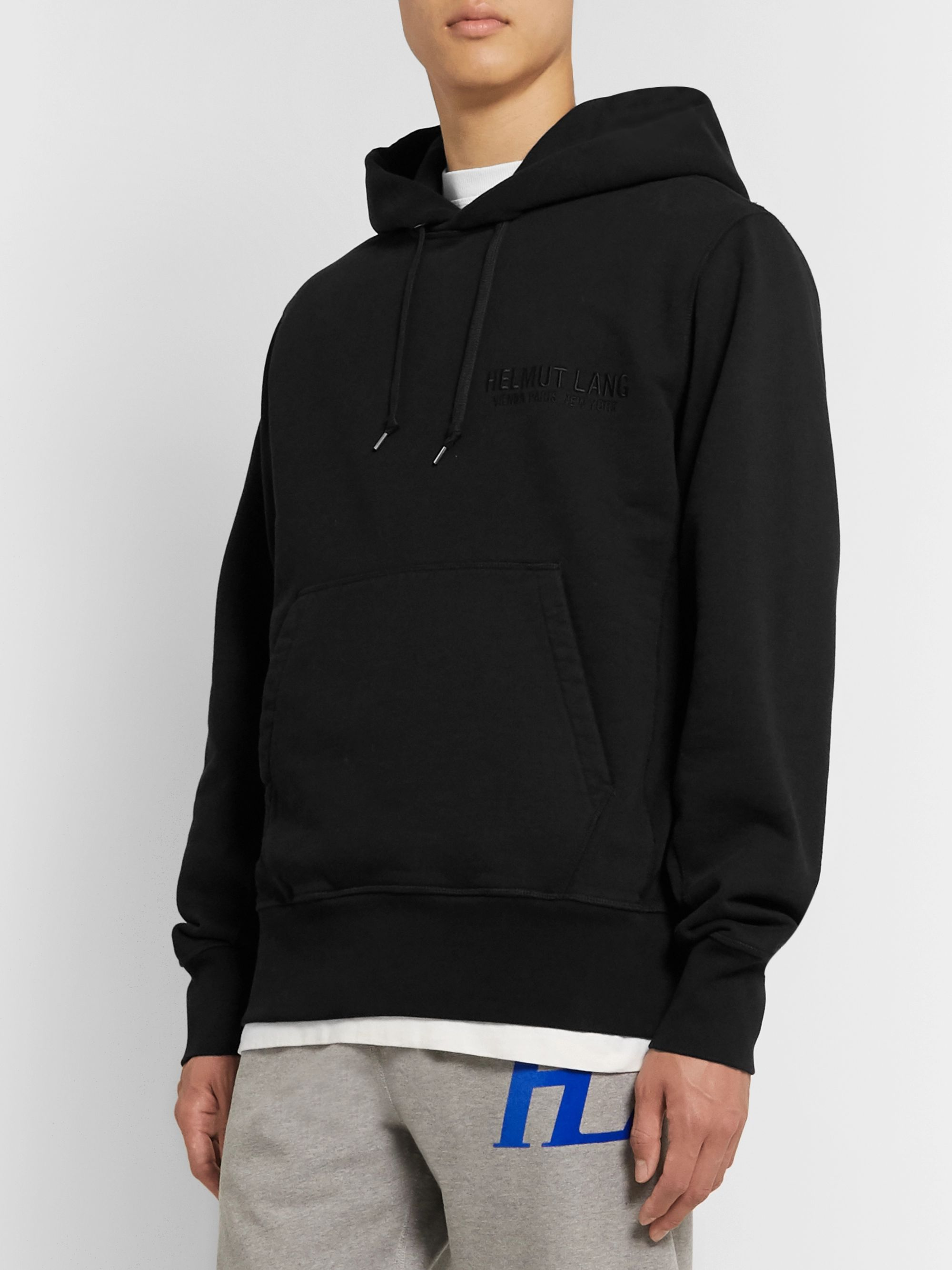 Helmut Lang Logo-Embroidered Printed Fleece-Back Cotton-Jersey Hoodie
