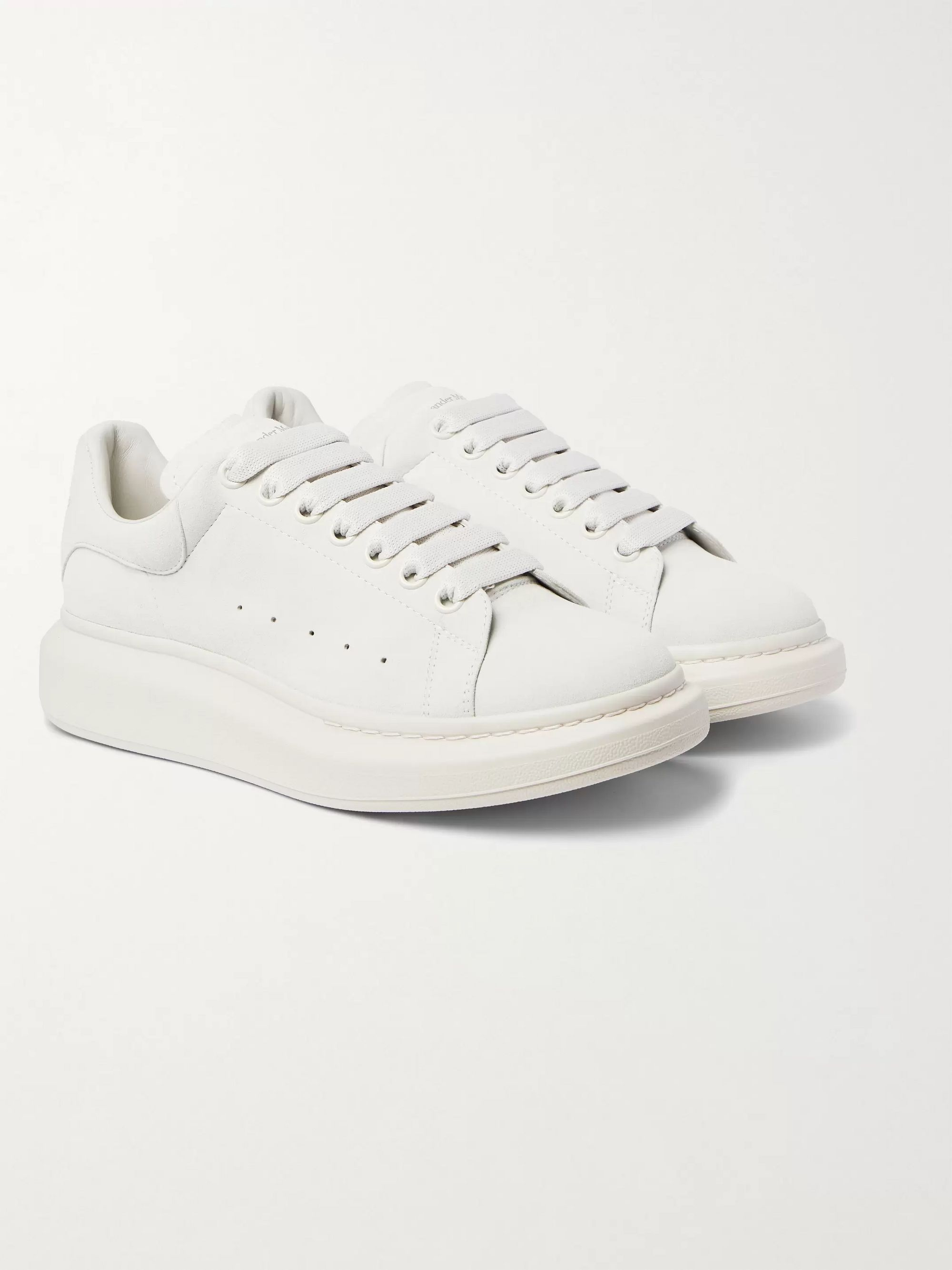 White Exaggerated-Sole Suede Sneakers