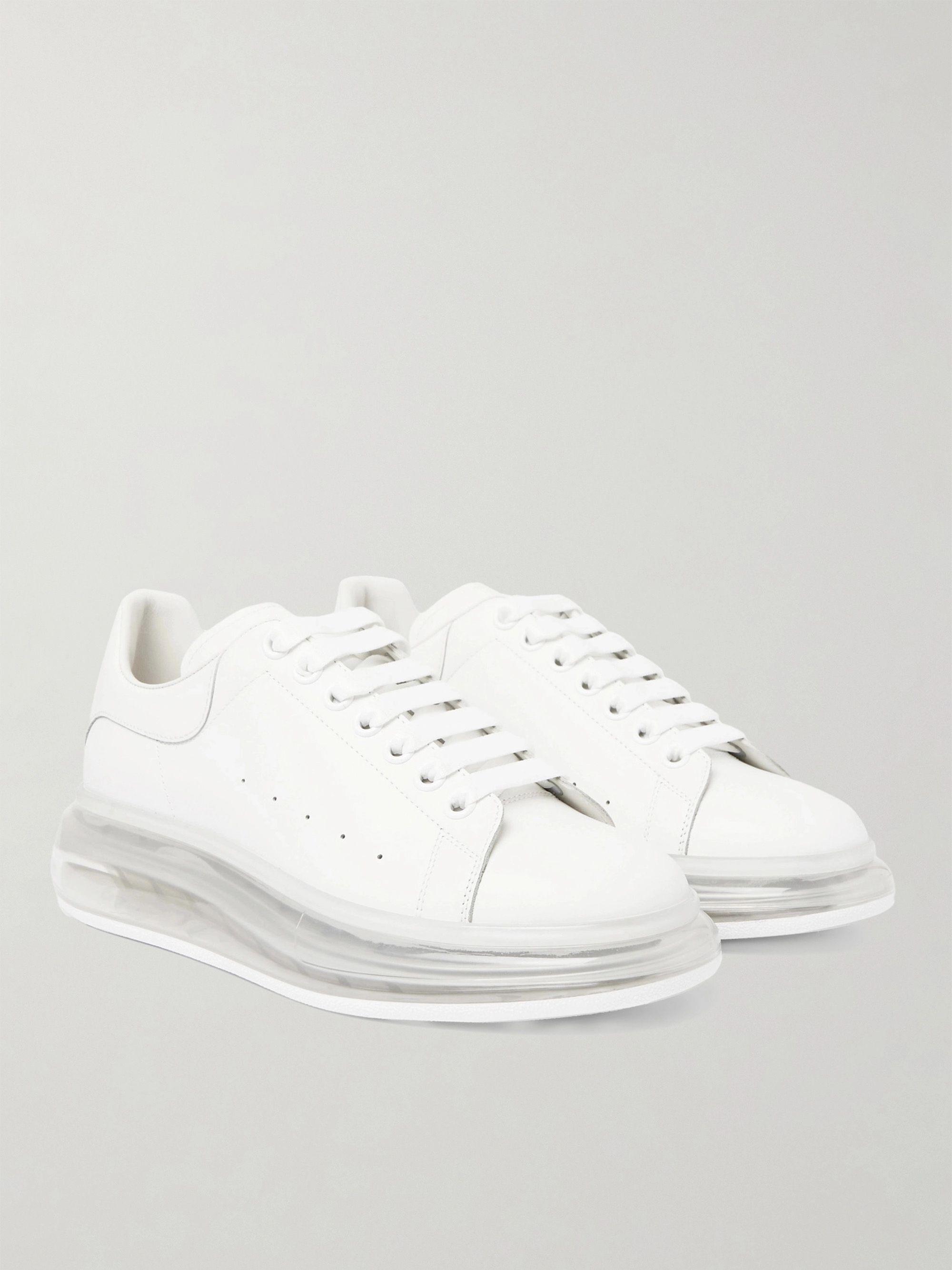 알렉산더 맥퀸 Alexander McQueen Exaggerated-Sole Leather Sneakers,White