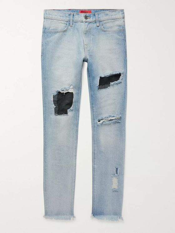 424 Skinny-Fit Embroidered Distressed Nubuck-Panelled Denim Jeans