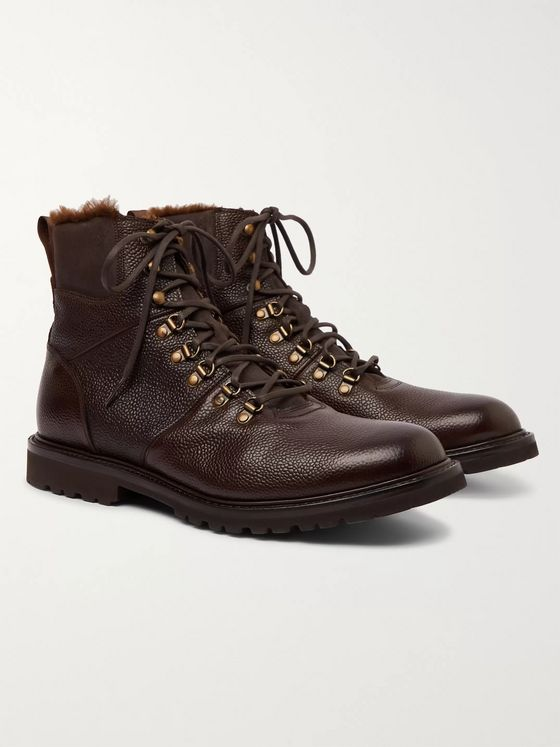Cheaney Ingleborough Shearling-Lined Full-Grain Leather Boots
