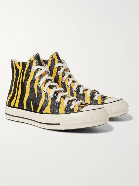 Converse Chuck 70 Zebra-Print Leather High-Top Sneakers