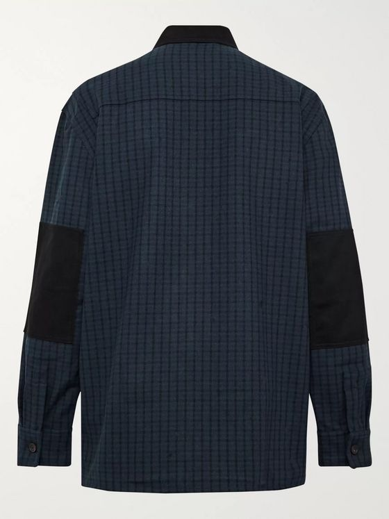 Acne Studios Twill-Panelled Checked Wool-Blend Shirt Jacket
