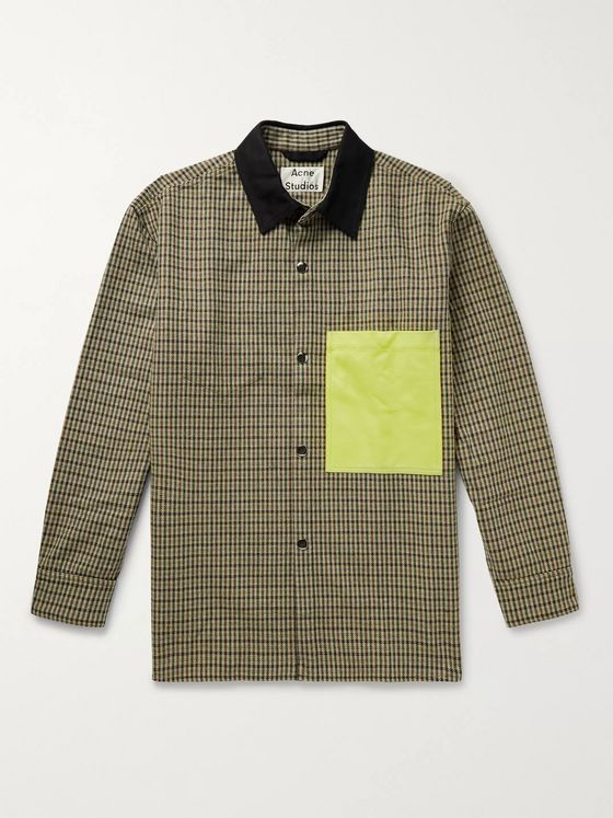 Acne Studios Twill-Trimmed Checked Recycled Wool-Blend Jacket
