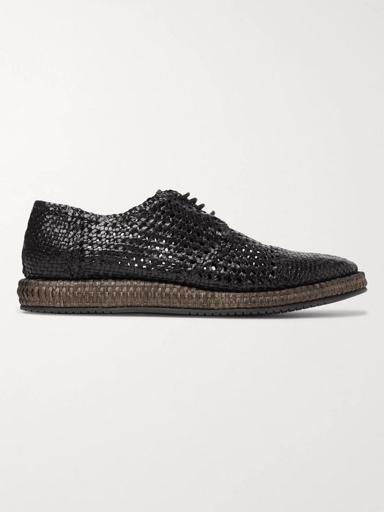 Dolce & Gabbana Woven Leather and Straw Derby Shoes