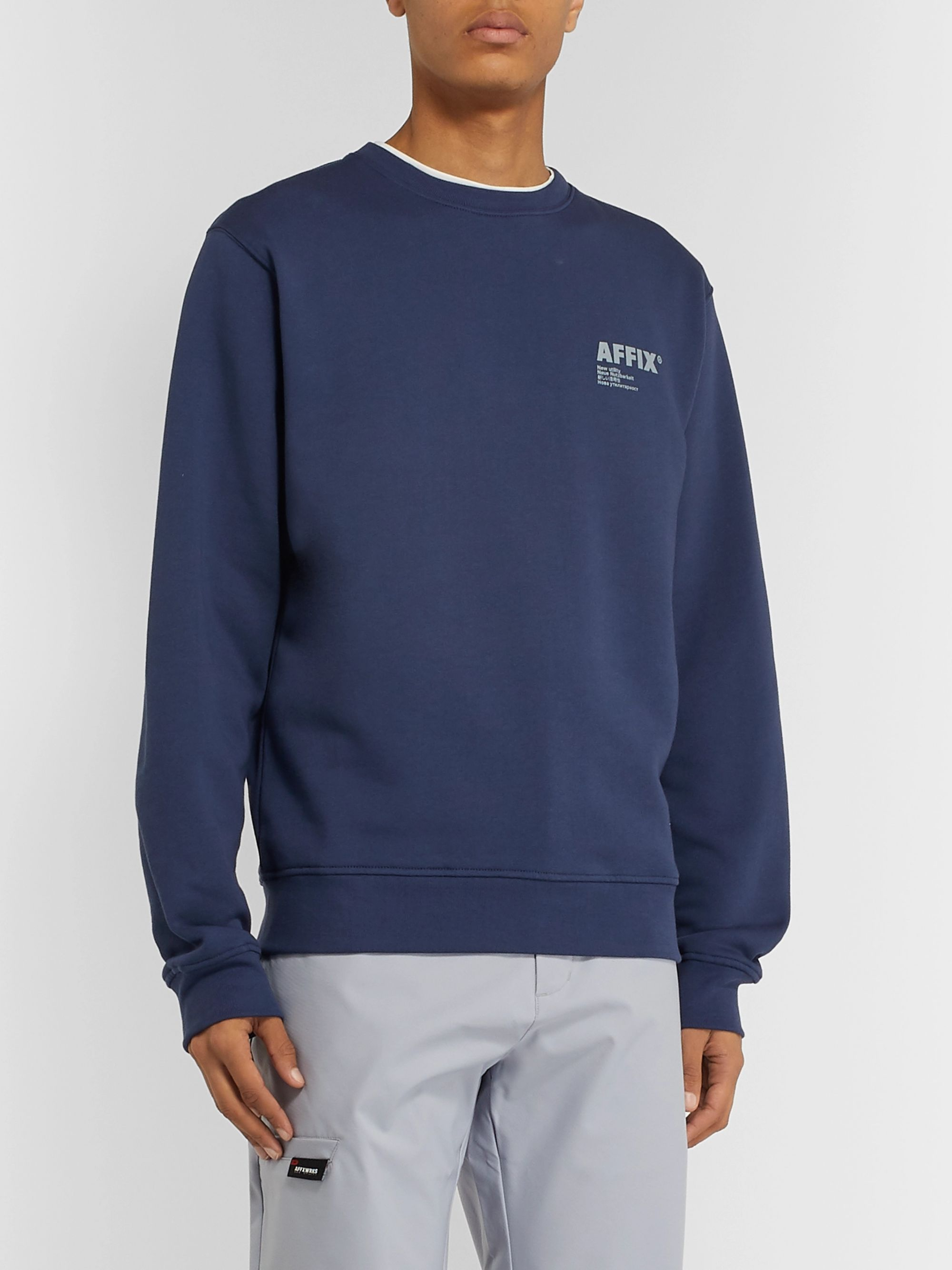 AFFIX Logo-Print Fleece-Back Cotton-Jersey Sweatshirt