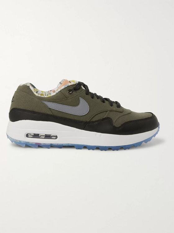 Nike Golf Enemies of The Course Air Max 1 NRG Leather-Trimmed Canvas Golf Shoes