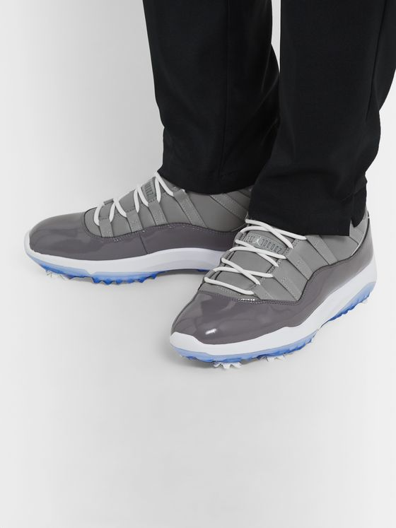 Nike Golf Air Jordan 11 Patent and Smooth Leather Golf Shoes