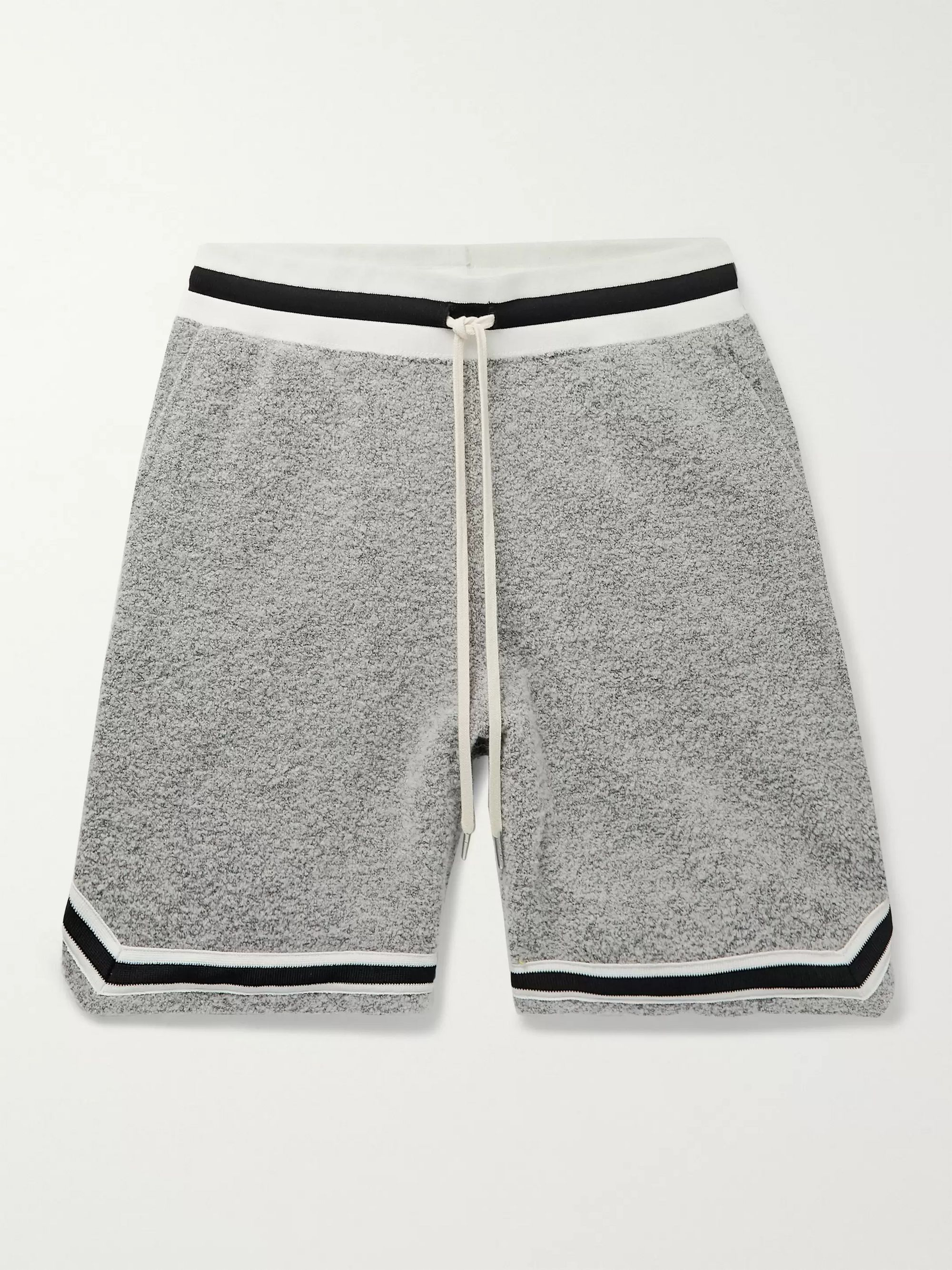 John Elliott Game Wide-Leg Mélange Bouclé Drawstring Shorts