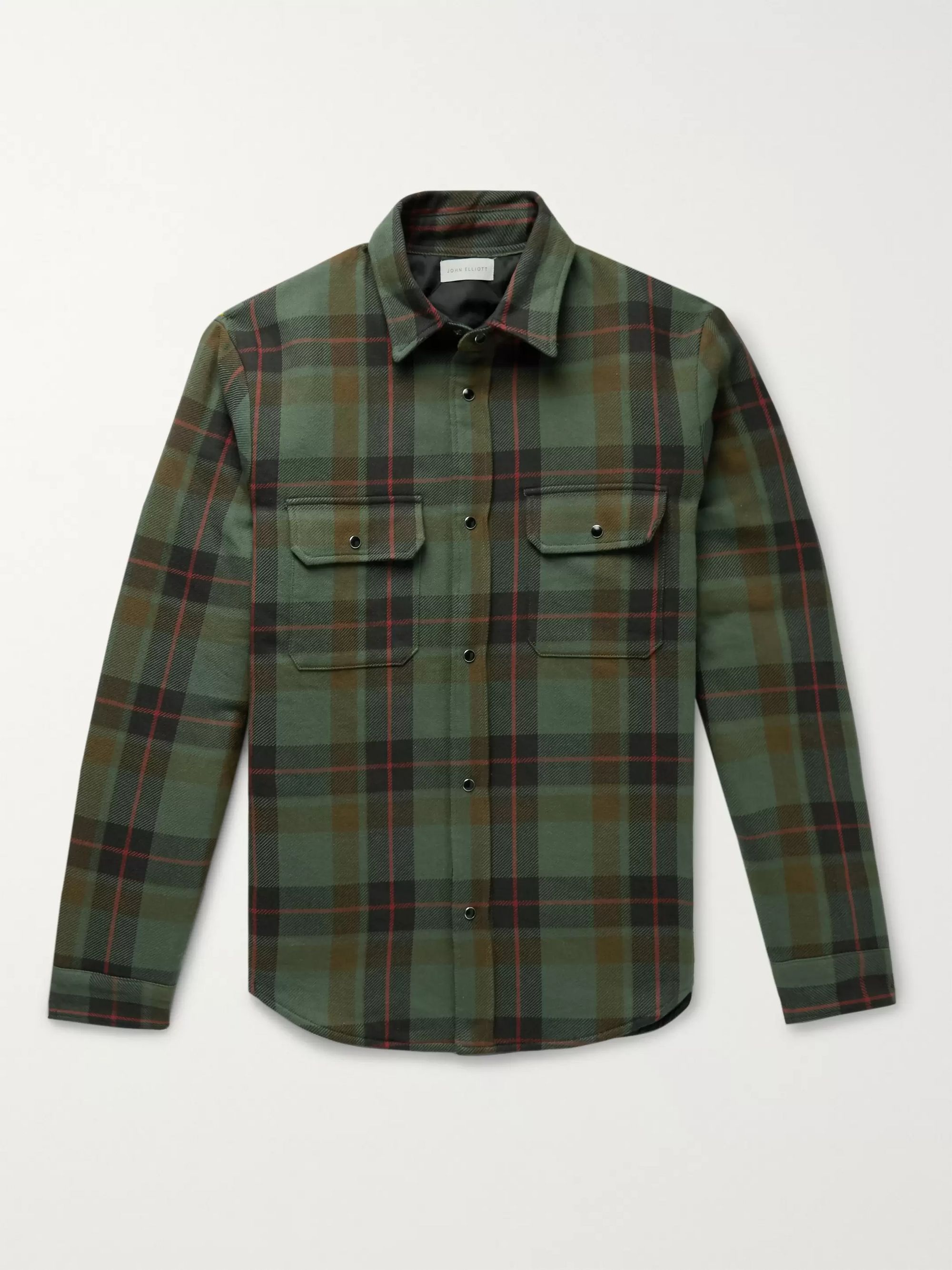 John Elliott Jupiter Padded Checked Cotton-Flannel Overshirt