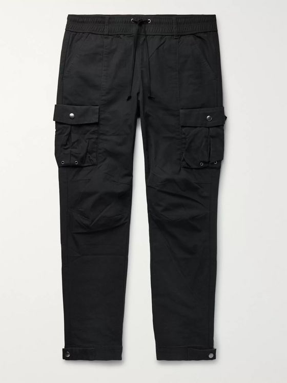John Elliott Black Panorama Slim-Fit Cotton-Ripstop Cargo Trousers