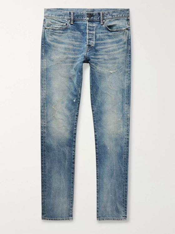 John Elliott The Cast 2 Slim-Fit Distressed Washed Denim Jeans