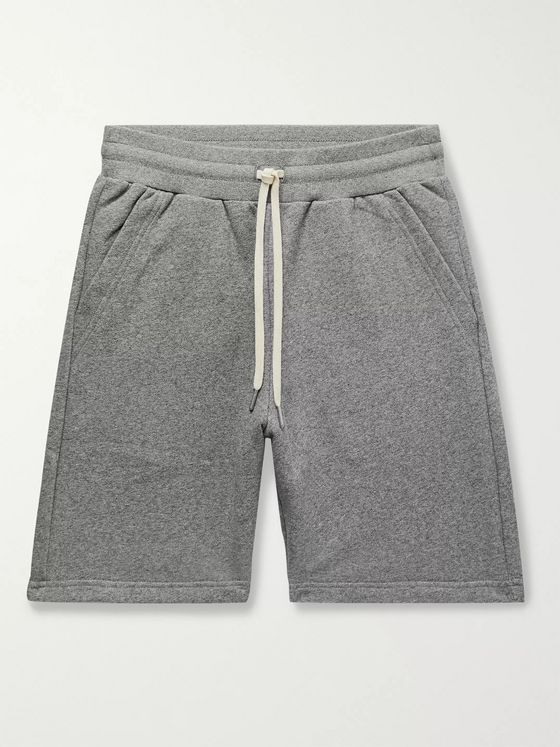 John Elliott Crimson Mélange Loopback Cotton-Blend Jersey Drawstring Shorts