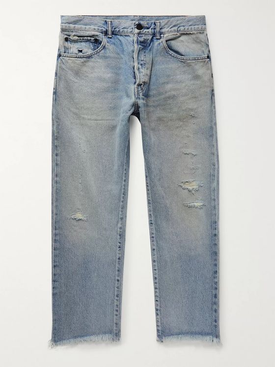 John Elliott The Kane 2 Cropped Distressed Denim Jeans