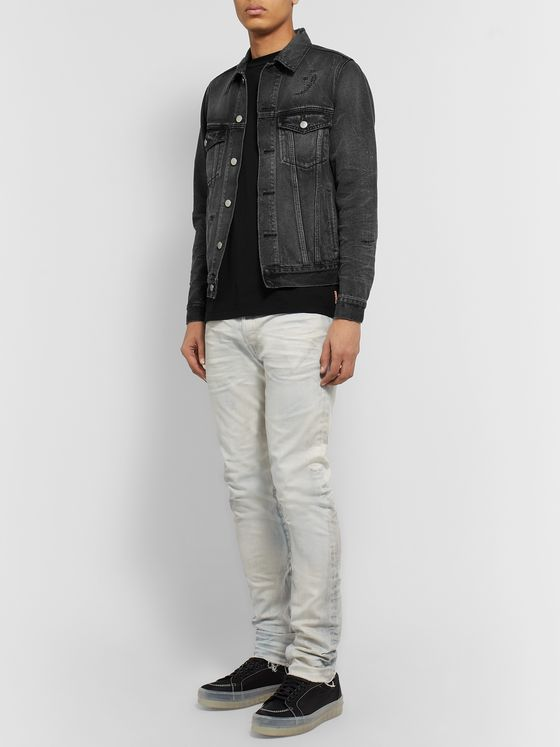 John Elliott Thumper Slim-Fit Distressed Denim Jacket