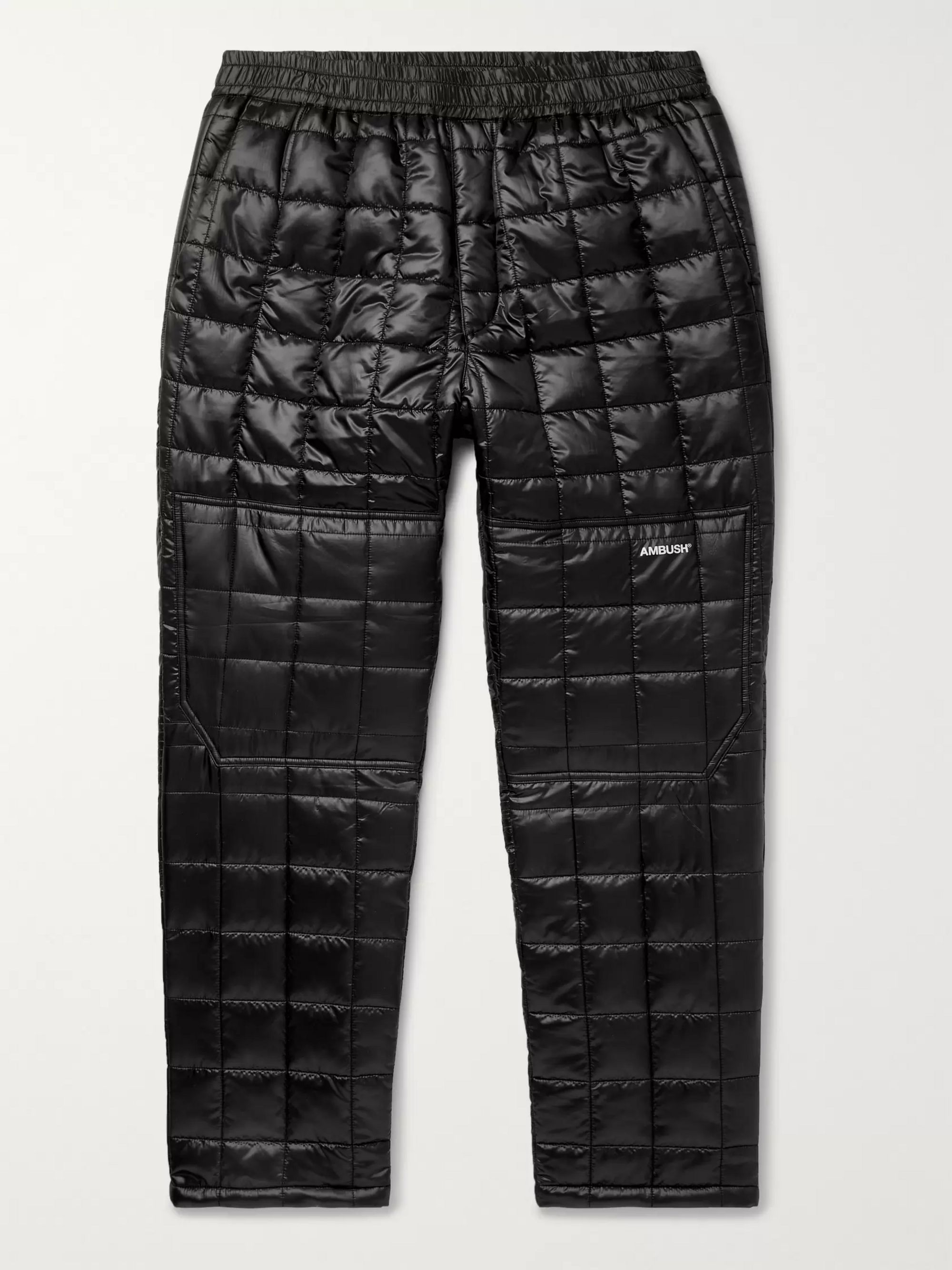 AMBUSH® Tapered Logo-Print Quilted Coated-Cotton Track Pants