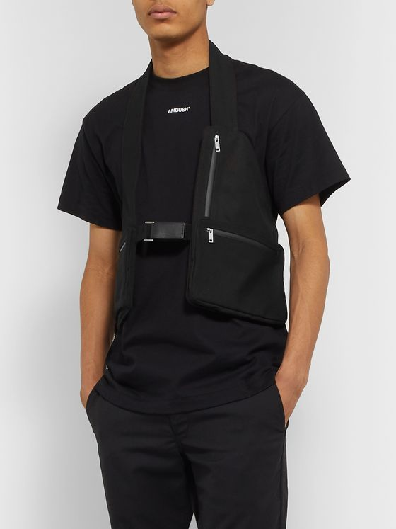 AMBUSH® Leather-Trimmed Cotton-Canvas Cargo Vest