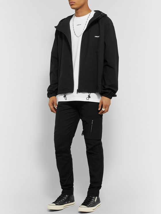 AMBUSH® Logo-Print Hooded Cotton-Shell Zip-Up Jacket
