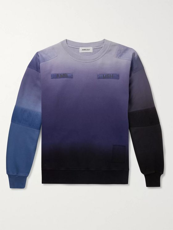 AMBUSH® Logo-Appliquéd Patchwork Tied-Dyed Loopback Cotton-Jersey Sweatshirt