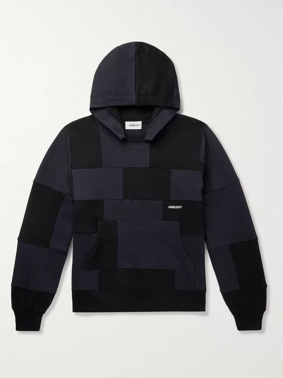 AMBUSH® Logo-Embroidered Patchwork Loopback Cotton-Jersey Hoodie