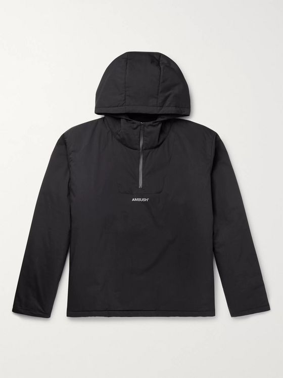 AMBUSH® Logo-Print Padded Hooded Cotton-Blend Shell Coat