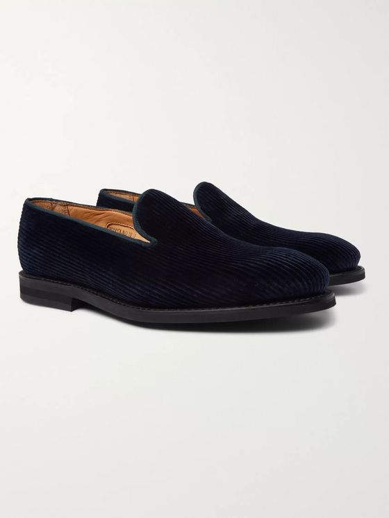 George Cleverley Positano Cotton-Corduroy Loafers