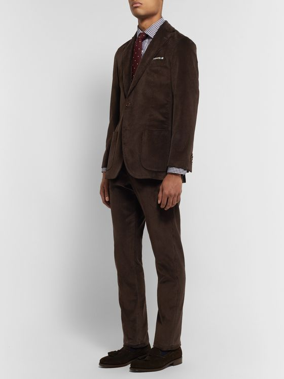 Sid Mashburn Chocolate Slim-Fit Cotton-Corduroy Suit Trousers