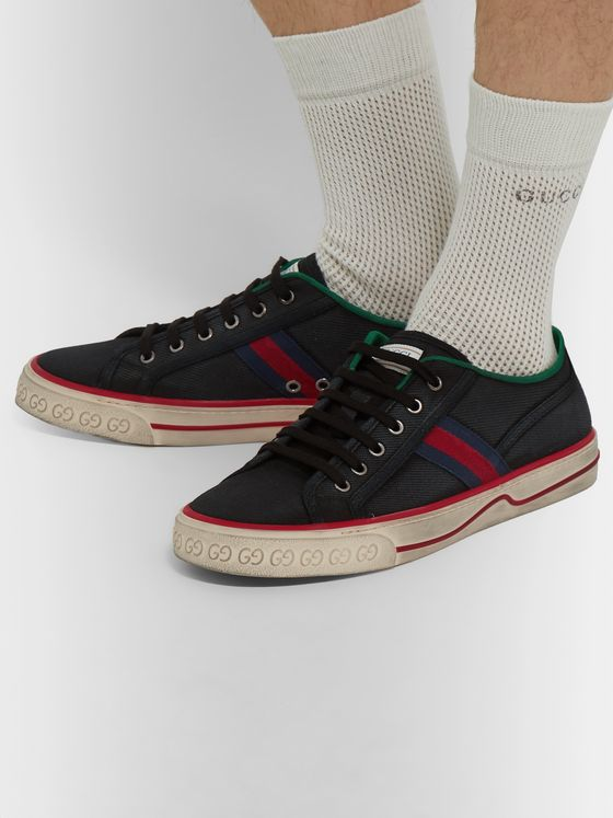 Gucci Distressed Canvas and Webbing Sneakers