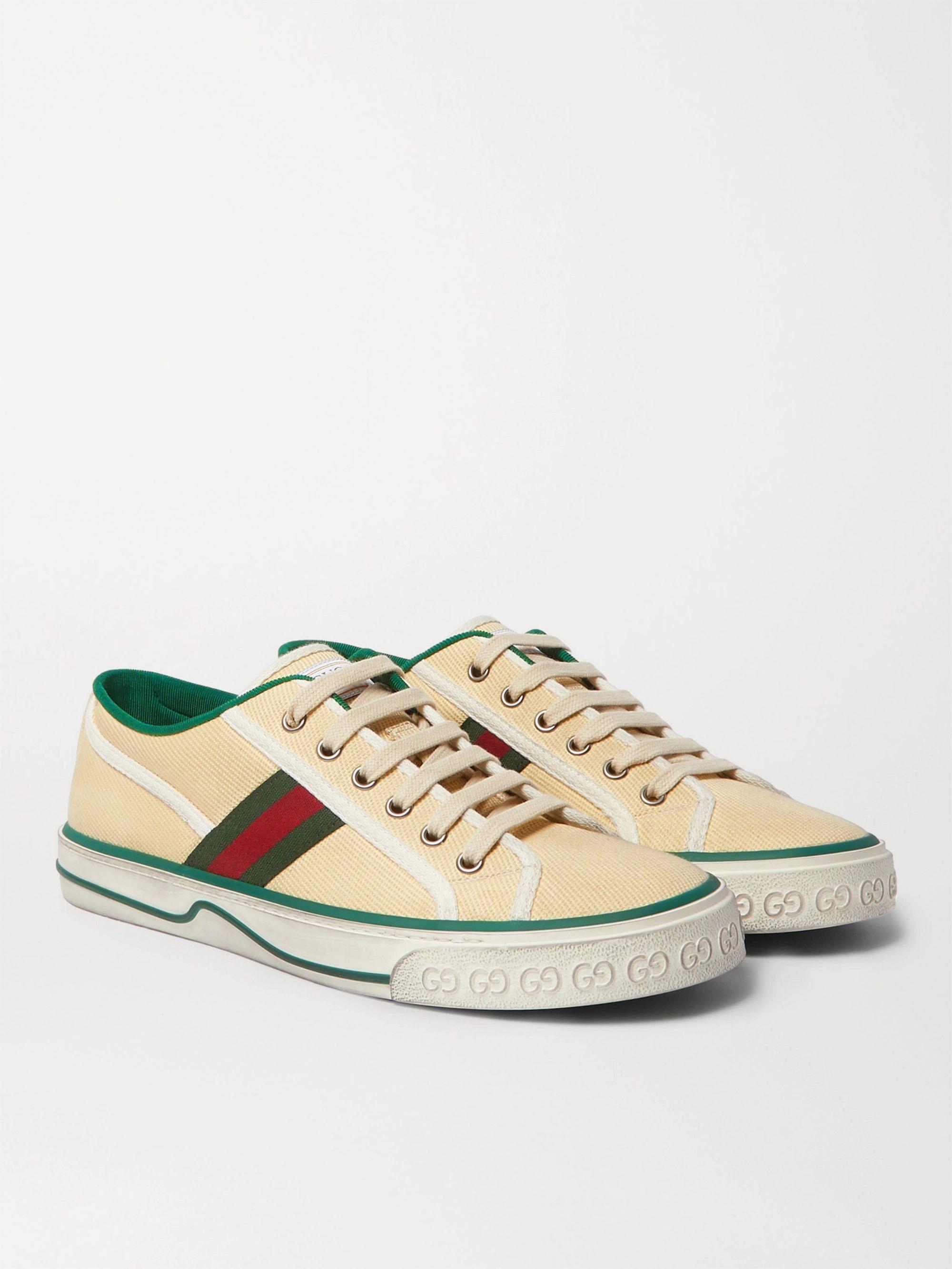 구찌 Gucci Distressed Canvas and Webbing Sneakers,Cream