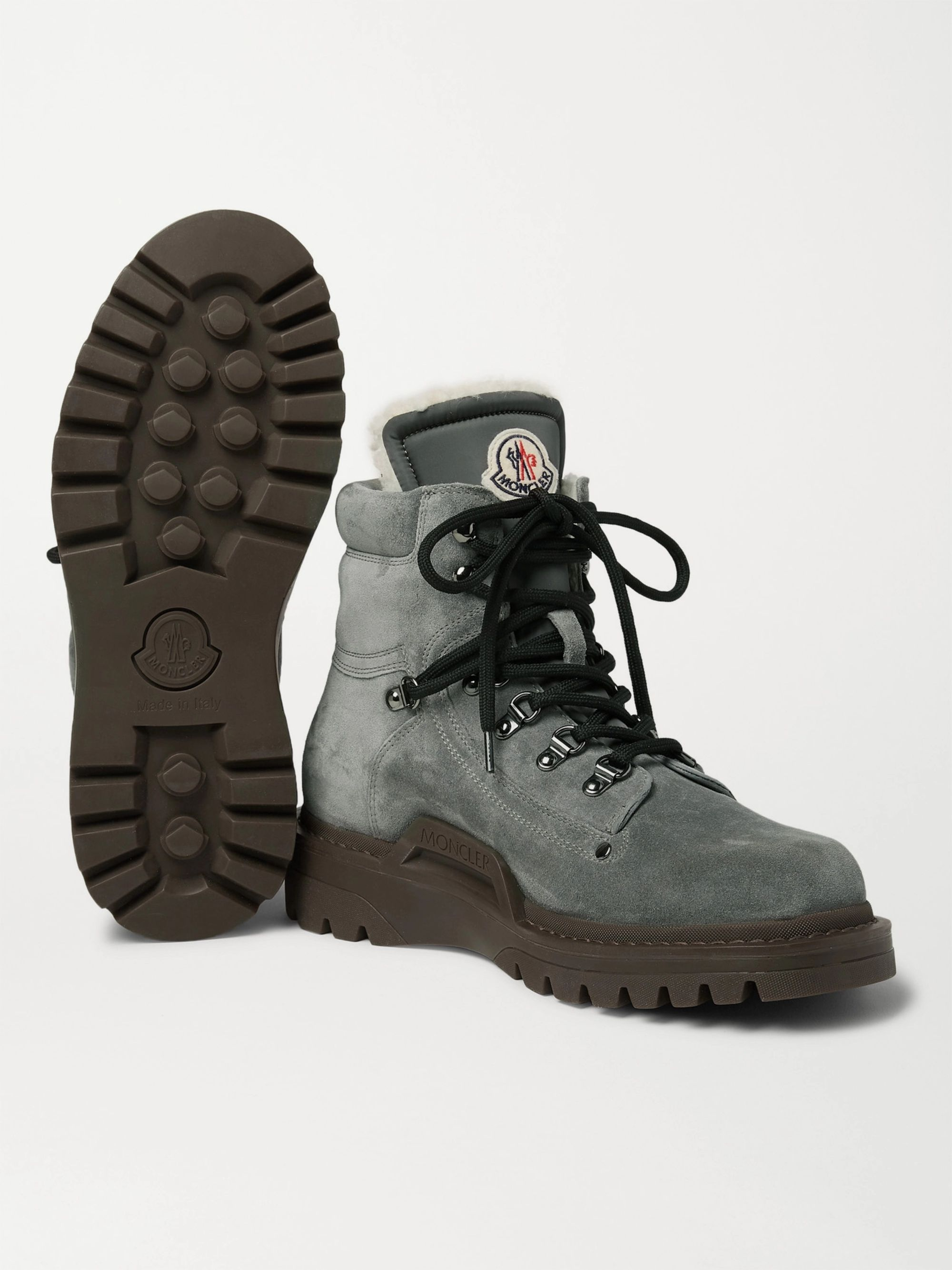 Moncler Egide Shearling-Lined Suede Boots