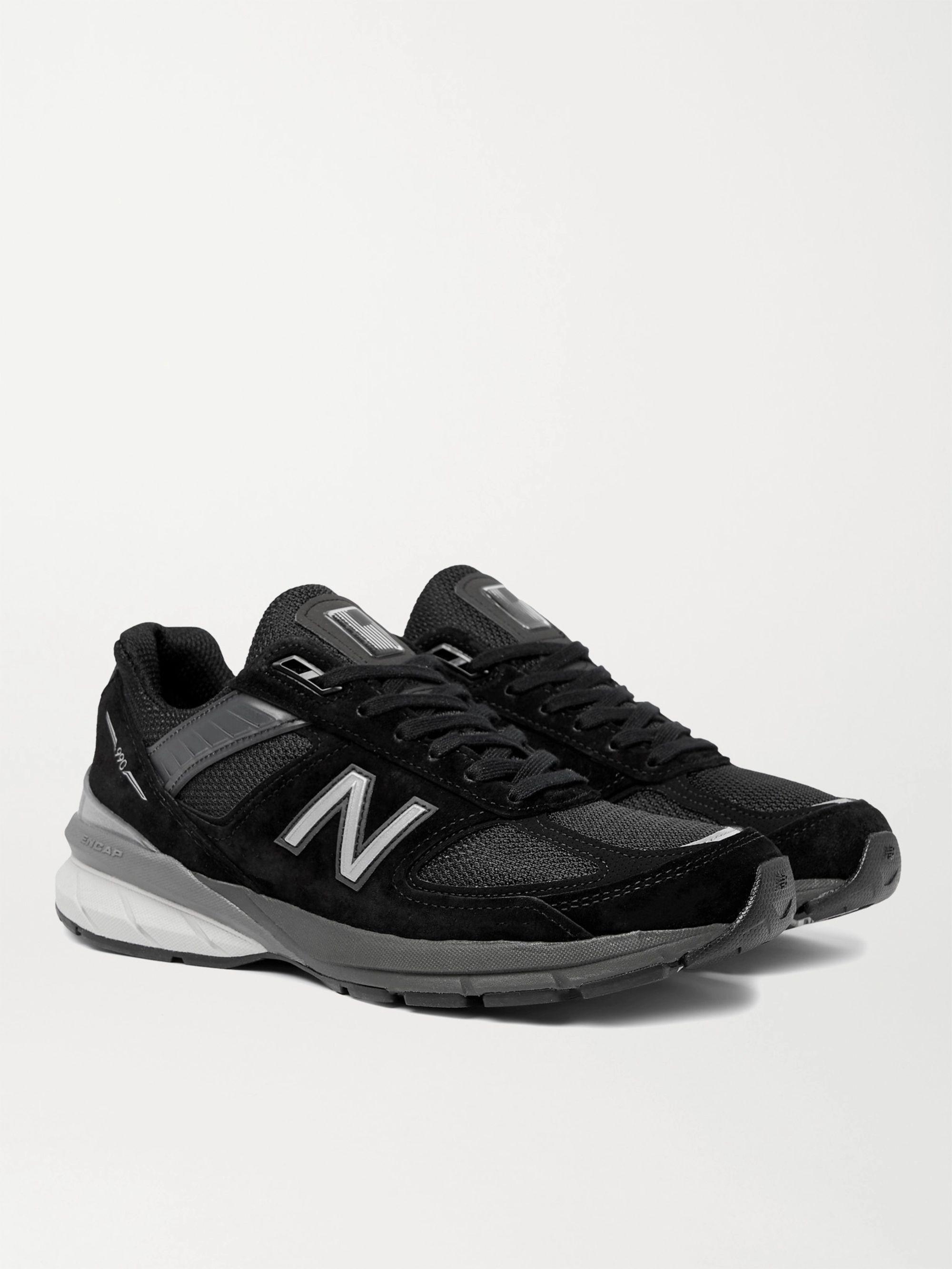 뉴발란스 New Balance M990v5 Suede and Mesh Sneakers,Black