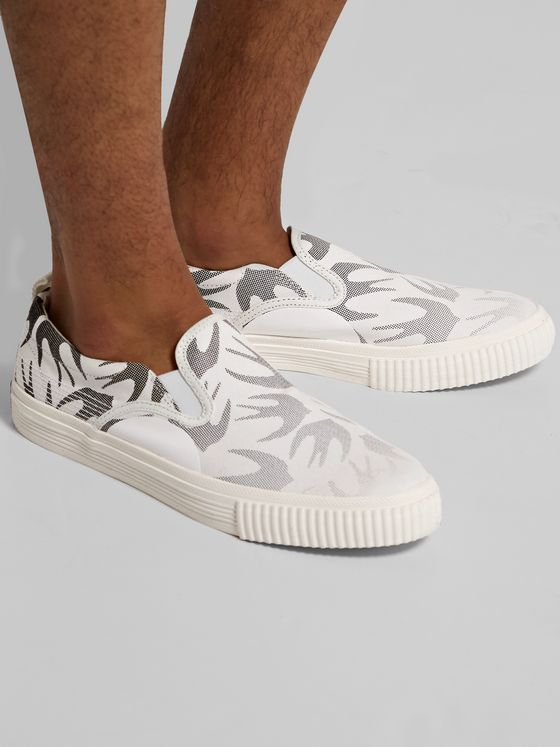 McQ Alexander McQueen Printed Canvas Slip-On Sneakers