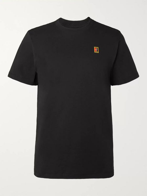 Nike Tennis NikeCourt Logo-Embroidered Cotton-Jersey T-Shirt