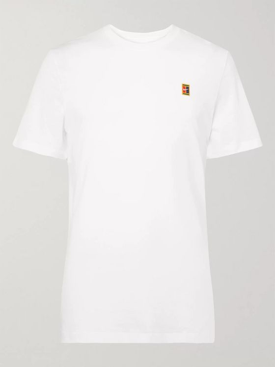 NIKE TENNIS NikeCourt Logo-Appliquéd Cotton-Jersey Tennis T-Shirt